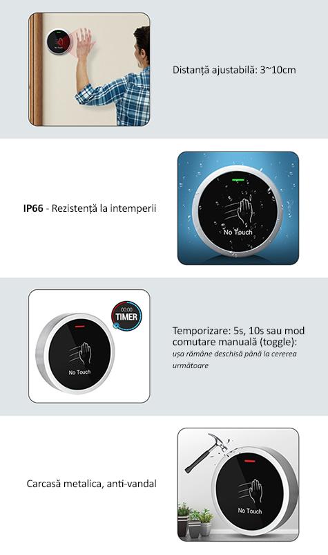 S button 100 - buton cerere iesire (REX) infrarosu, no touch, temporizare